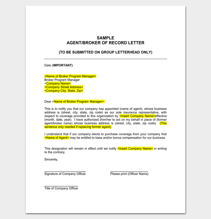 Sample insurance agent appointment letter letter for Construction types insurance