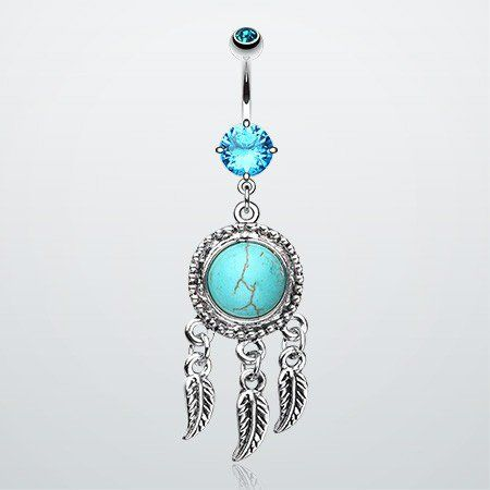 Dream Catcher Belly Button Rings Turquoise Dream Catcher Belly Button Ring On Wanelo  Things I Want