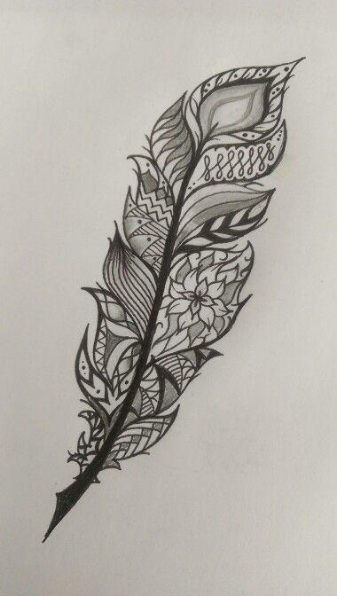 feather tattoo idea mandala style tattoos pinterest tatouages plumes et tatouages de plumes. Black Bedroom Furniture Sets. Home Design Ideas