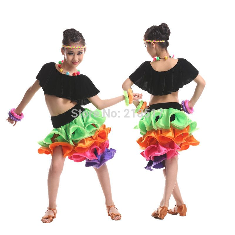 Pas cher kid 39 s robe latine costume latine samba tango for Pas de danse de salon