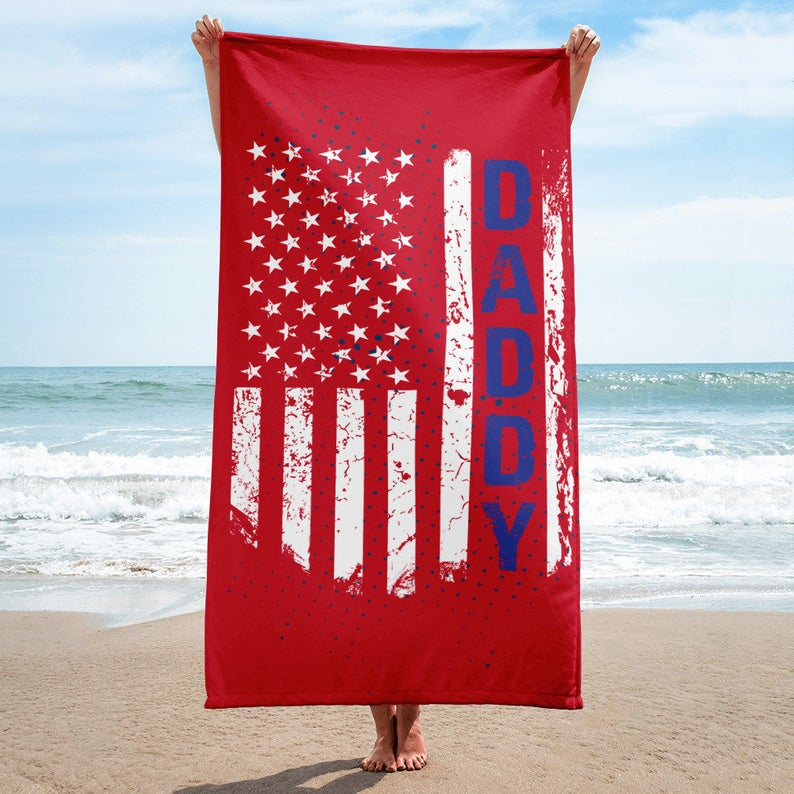 American Daddy Beach Towel Dad Towel Husband Towel Anniversary