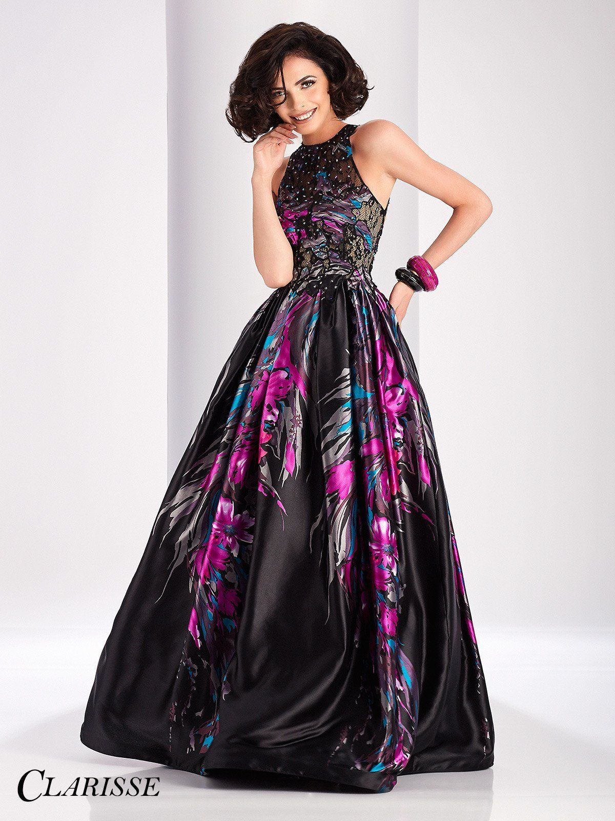 Clarisse prom blackprint open back ball gown prom dress ball