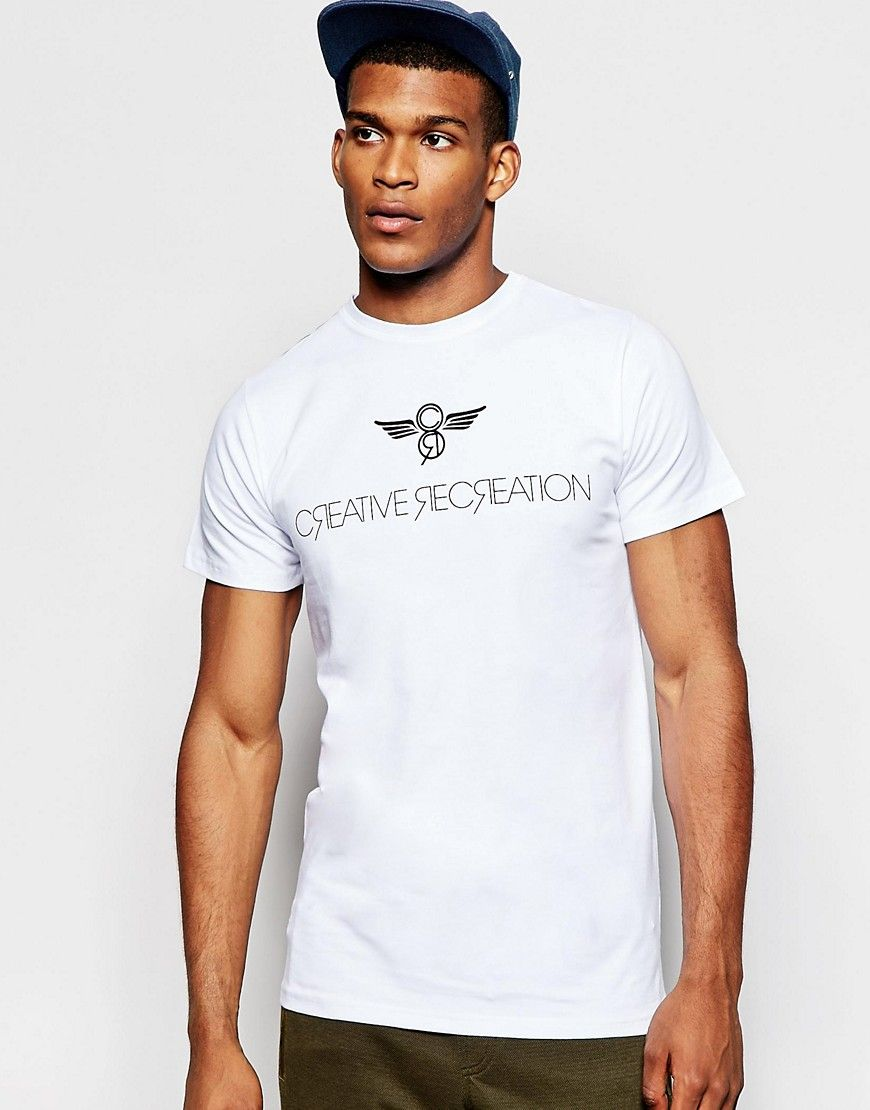 Cool Creative Recreation Slim Fit T-Shirt With Logo - White Creative Recreation T-Shirts & Veste til Herrer i dejlige materialer