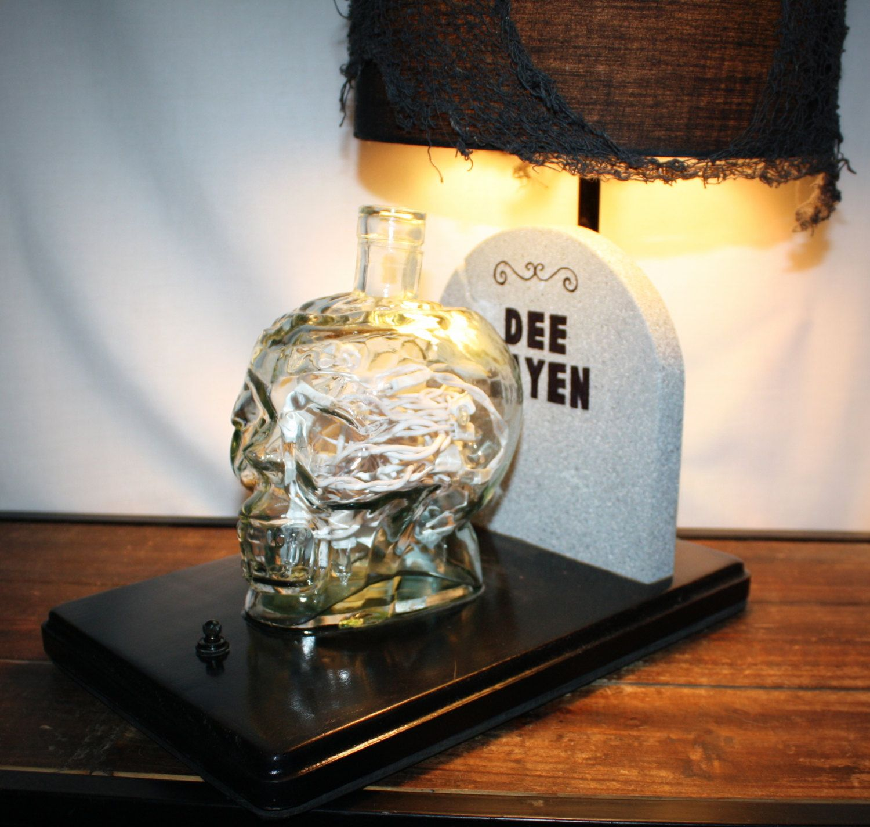 Zombie skull table lamp halloween decor tombstone and zombie head zombie skull table lamp halloween decor tombstone and zombie head handmade lamp arubaitofo Images