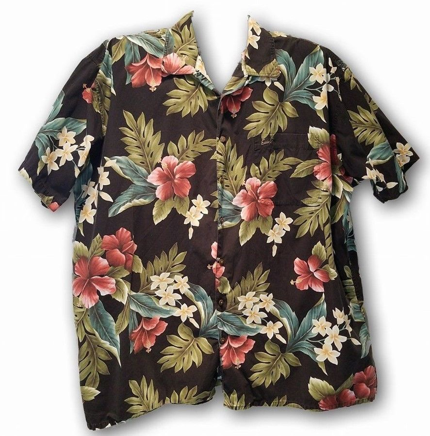 60f4f604 Eddie D Mens Hawaiian Shirt 3XLT Black Island Inspired Aloha Floral Cotton  #EddieD #ButtonFront