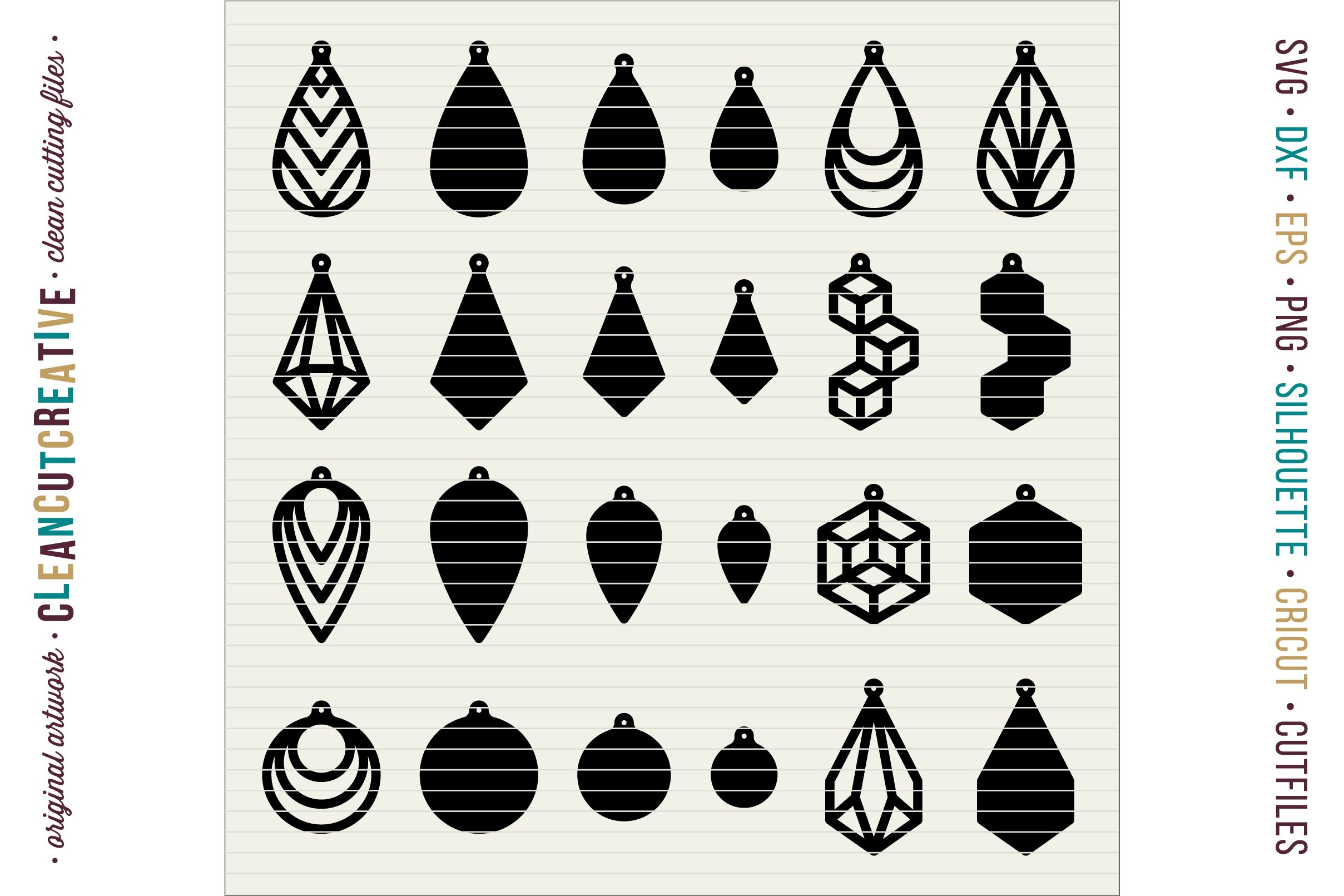 Set of 24 Faux Leather Earrings SVG DXF EPS PNG craft
