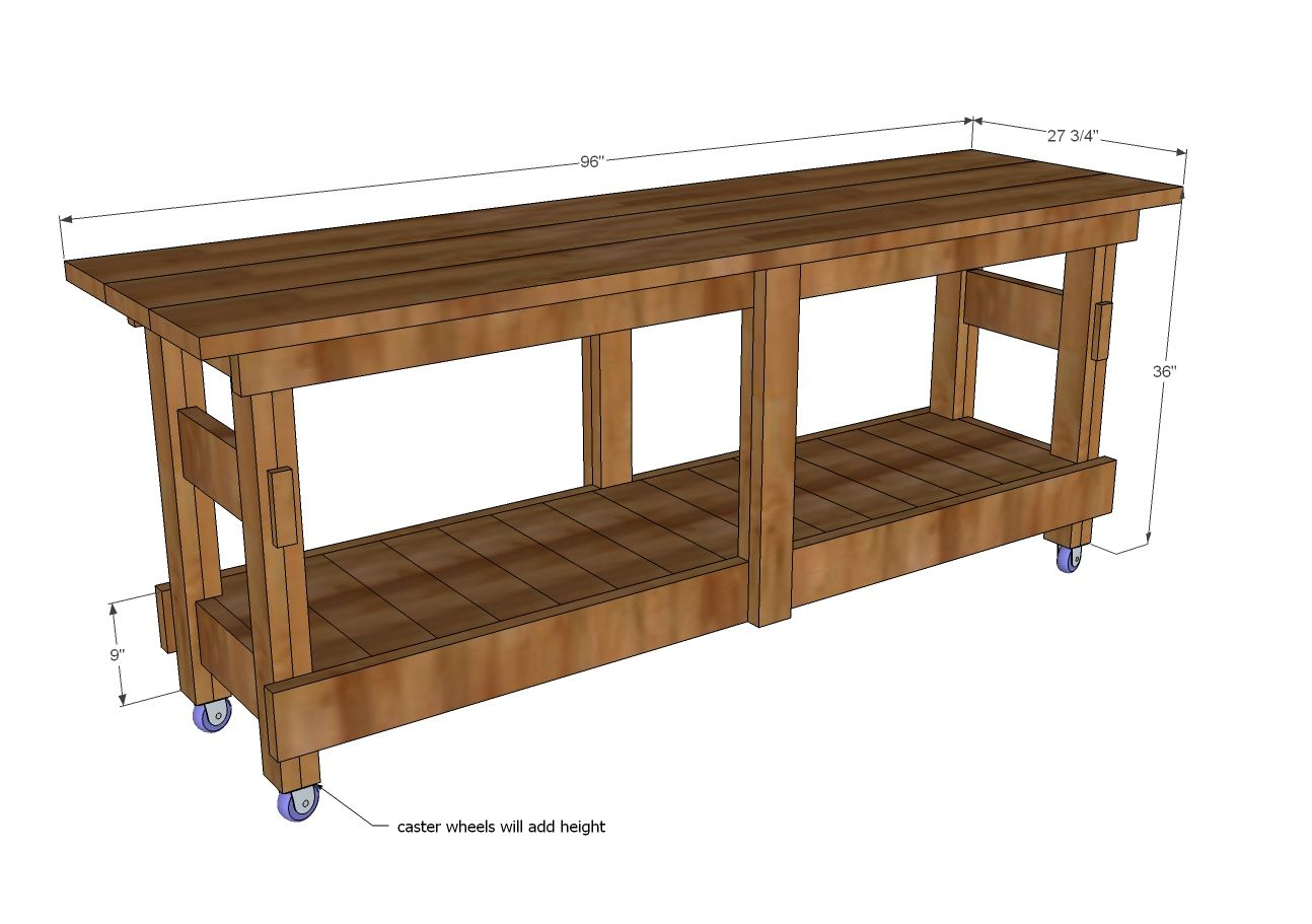 Ana White | Build a Jilly and Mia Workbench Console | Free and Easy ...