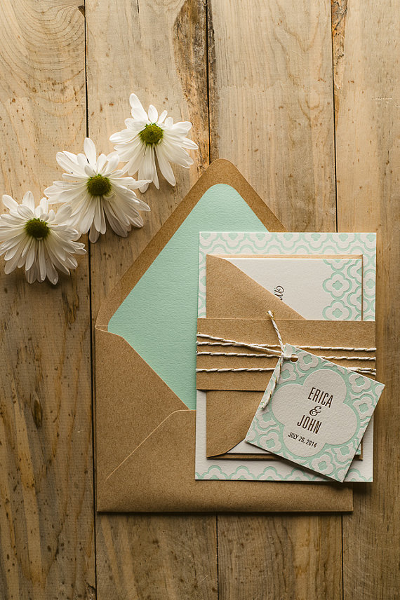 Mint & Kraft Wedding Invitation Wedding Invite by FlairNecessities, $150.00