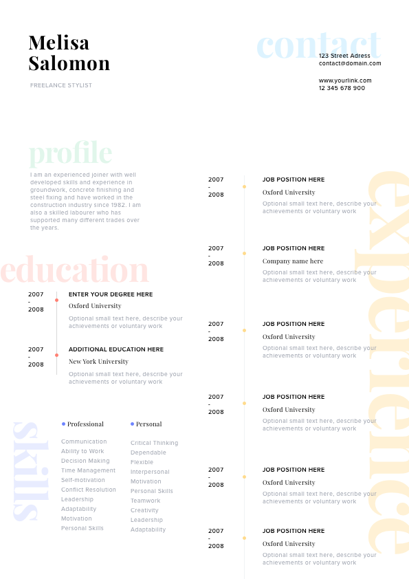 Resume Template Cv Modern And Legant Design Clean With Stylish