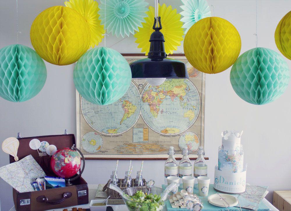 Vuestras fiestas pajitas de papel de rayas botellitas de for Mesa cristal mapamundi
