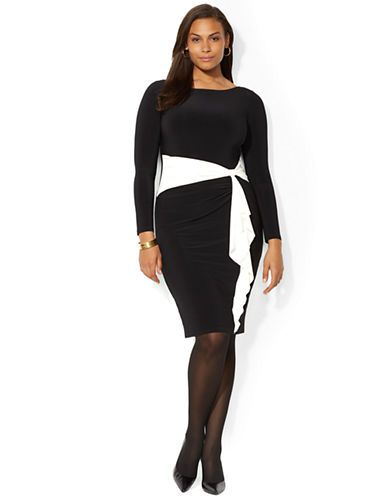 Plus Two Toned Jersey Dress | Lord and Taylor | Work ...