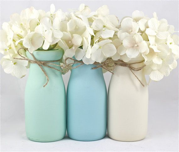 Boy Baby Shower Centerpiece Baby Shower Decorations Mint Blue Nursery Decor  Half Pint Painted Milk Bottles