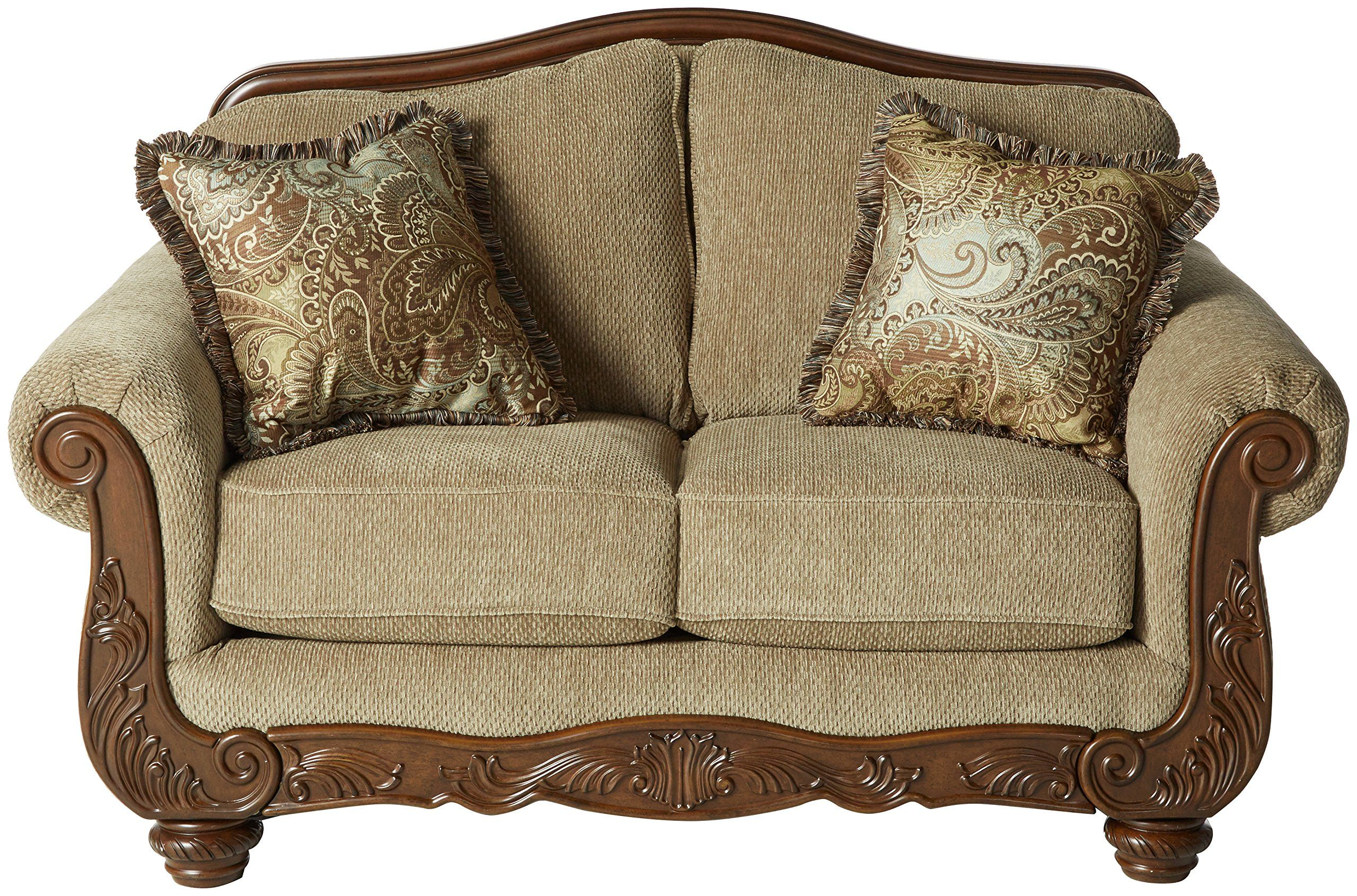 Ashley Furniture Signature Design Martinsburg Loveseat Sofa Traditional Style Couch Meadow With Brown B Love Seat Loveseat Sofa Ashley Furniture Living Room