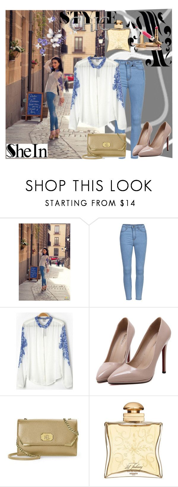 """""""Sheinside.com 7"""" by zijadaahmetovic ❤ liked on Polyvore featuring Lauren Ralph Lauren and Hermès"""