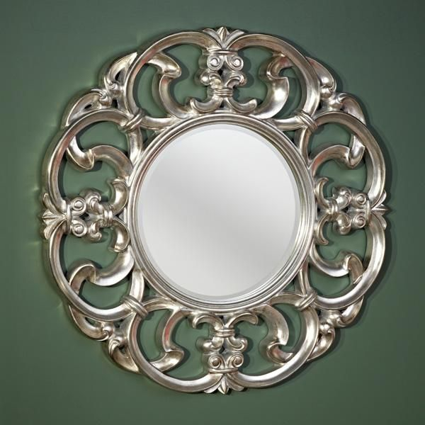 Wall mirrors decorative garland silver decorative round for Fancy oval mirror