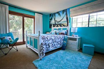 غرفة نوم بنات شاطئية زرقاء في لوي انجلوس 154 ديكورات غرف نوم Tropical Bedrooms Blue Bedroom Decor Blue Bedroom