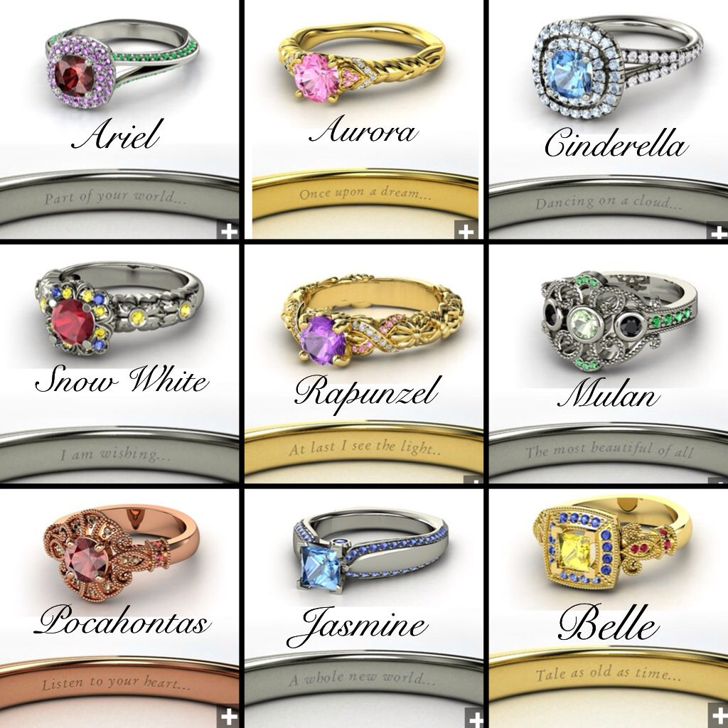 Disney princess inspired rings My friends and I3 Pinterest