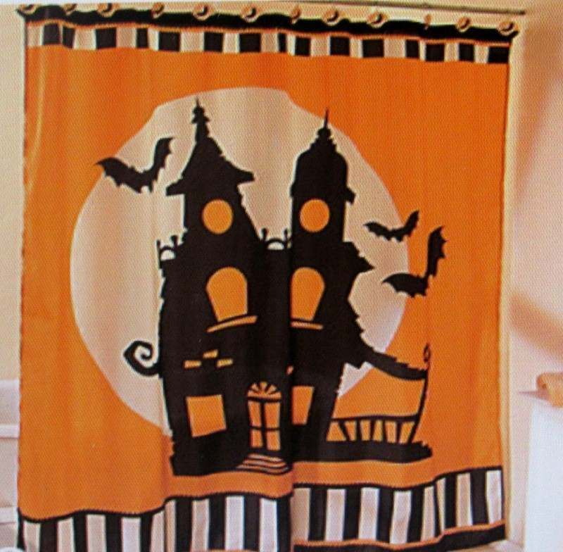 Fabric WITCHY BAT HALLOWEEN SHOWER CURTAIN Bewitching Bath Decor!