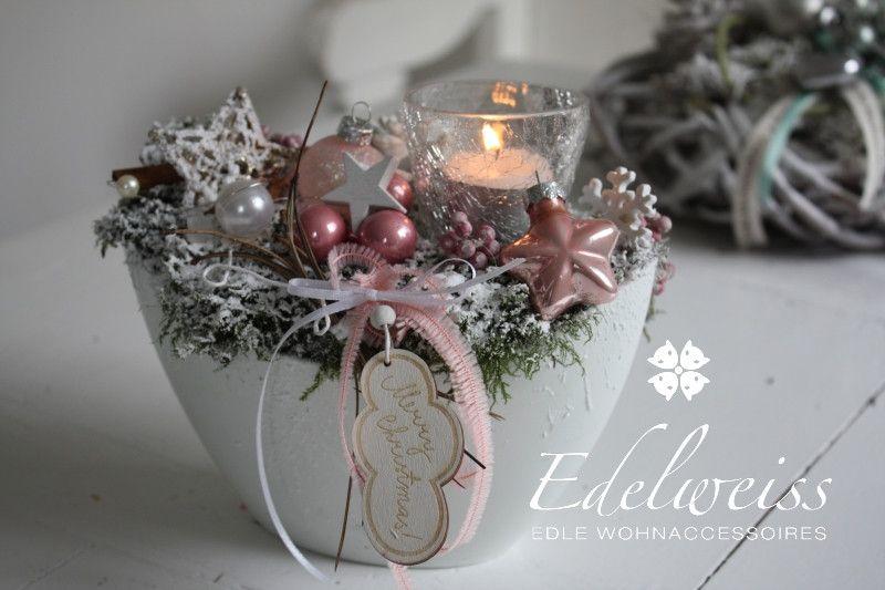weihnachtsdeko adventstischdeko ein hauch von rosa ein. Black Bedroom Furniture Sets. Home Design Ideas