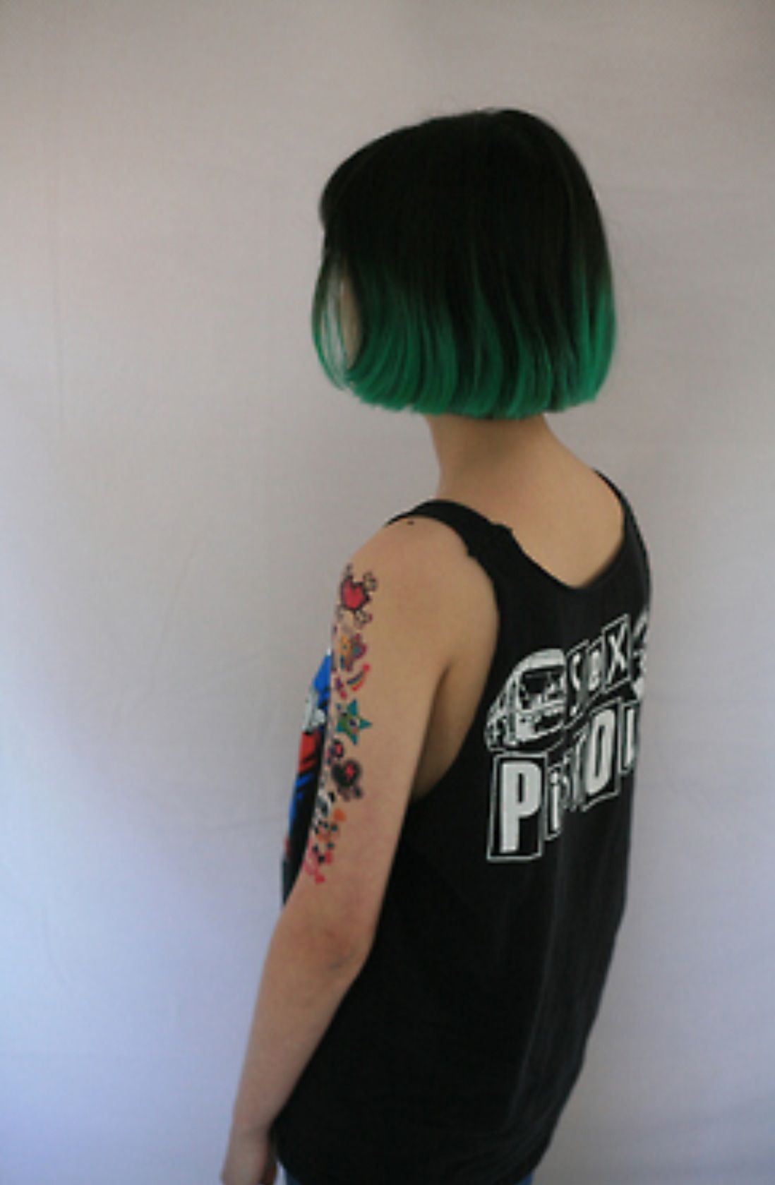 Black And Green Ombré Bob