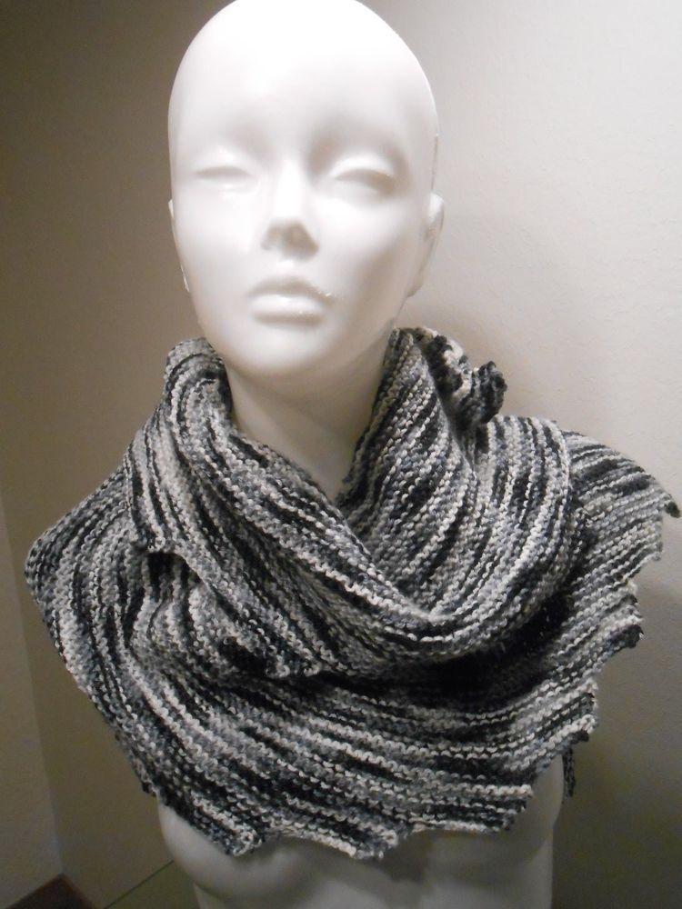 224ae02ed43254 Schal, Drachentuch gestrickt, mehrfarbig, schwarz, grau, weiß ...