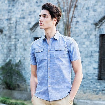 2016 Summer Denim Shirt Men Cotton Soft&Comfortable Men Shirt Jeans Straight Light Blue Casual Shirt Male 555002