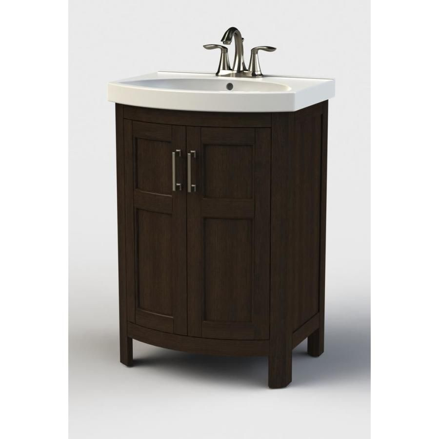 Style Selections Morecott 23 75 In Chocolate Integral Single Sink Bathroom Vanity With Vitreous China Top