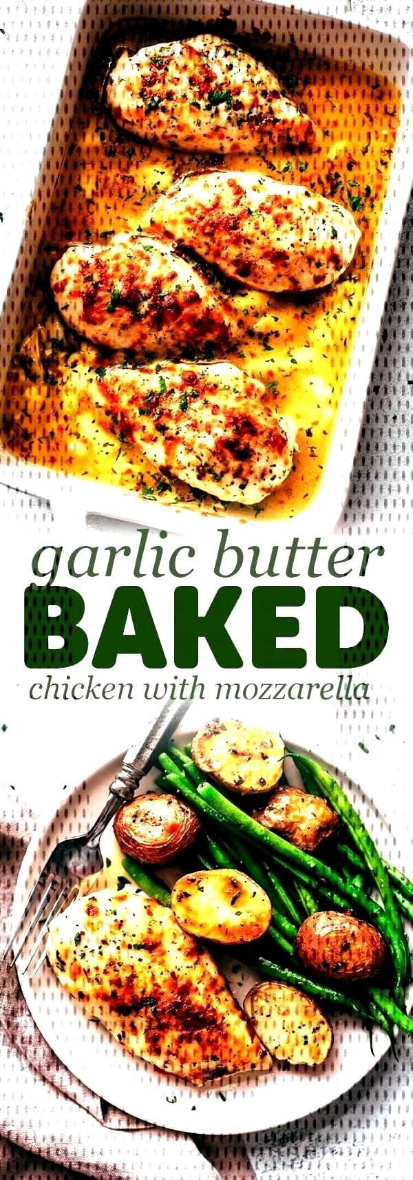 Baked Garlic Butter Chicken with Mozzarella - learn how to bake chicken breasts in a simple garlic