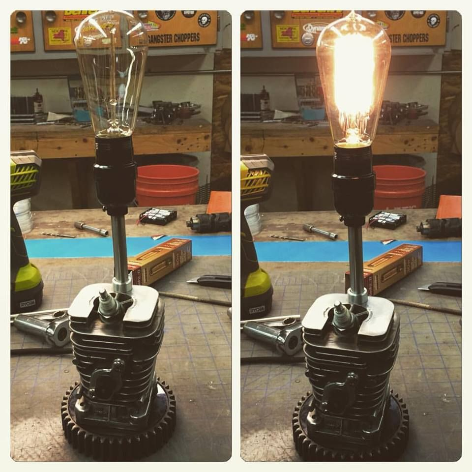Table Lamp I made from an old two stroke chainsaw engine