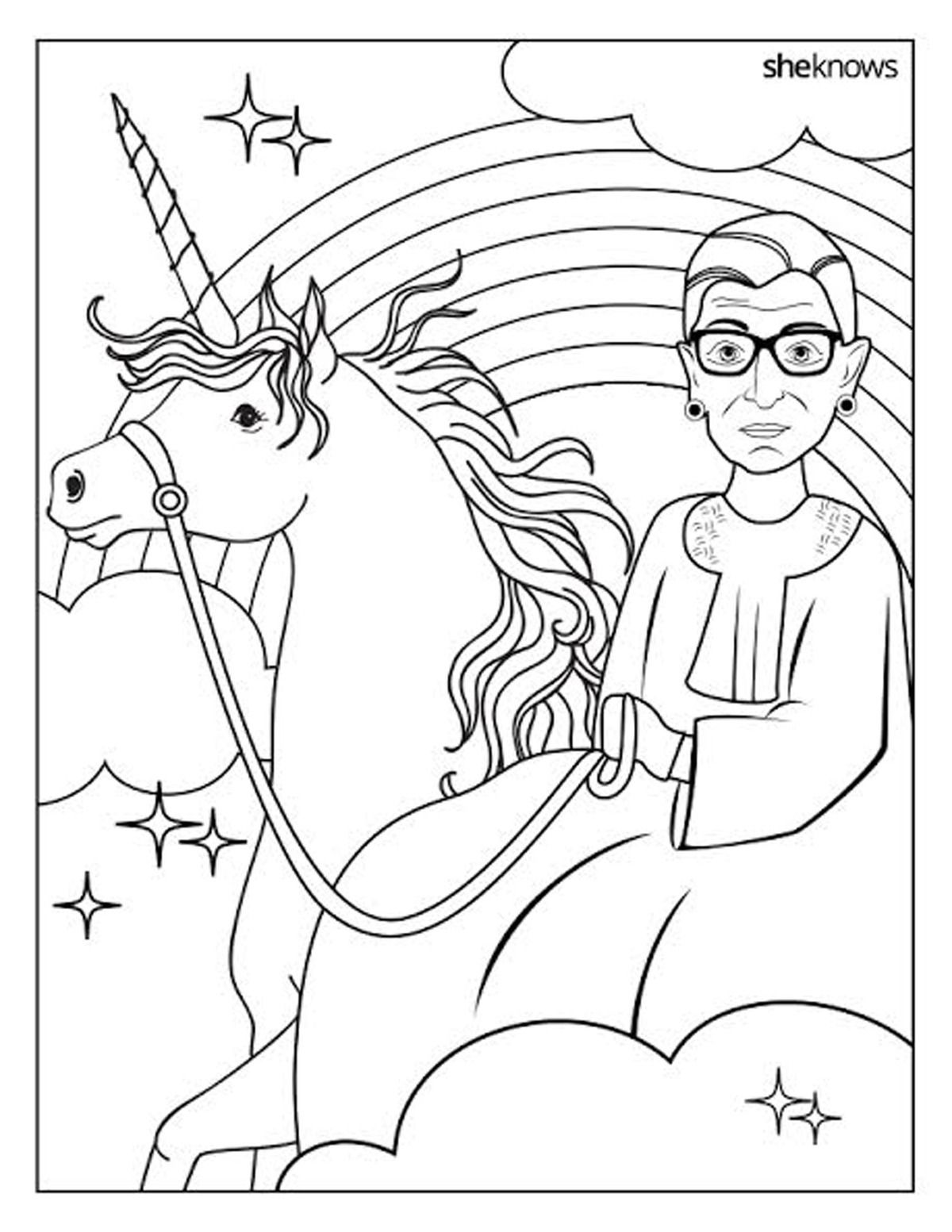 Notorious Rbg Riding A Unicorn Makes For An Epic Coloring Book