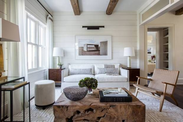 taupe white living room with beams and shiplap