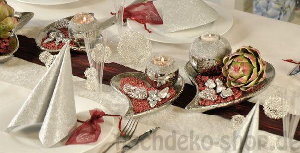 Tischdeko Silberhochzeit SilberBordeaux  Tischdeko zur