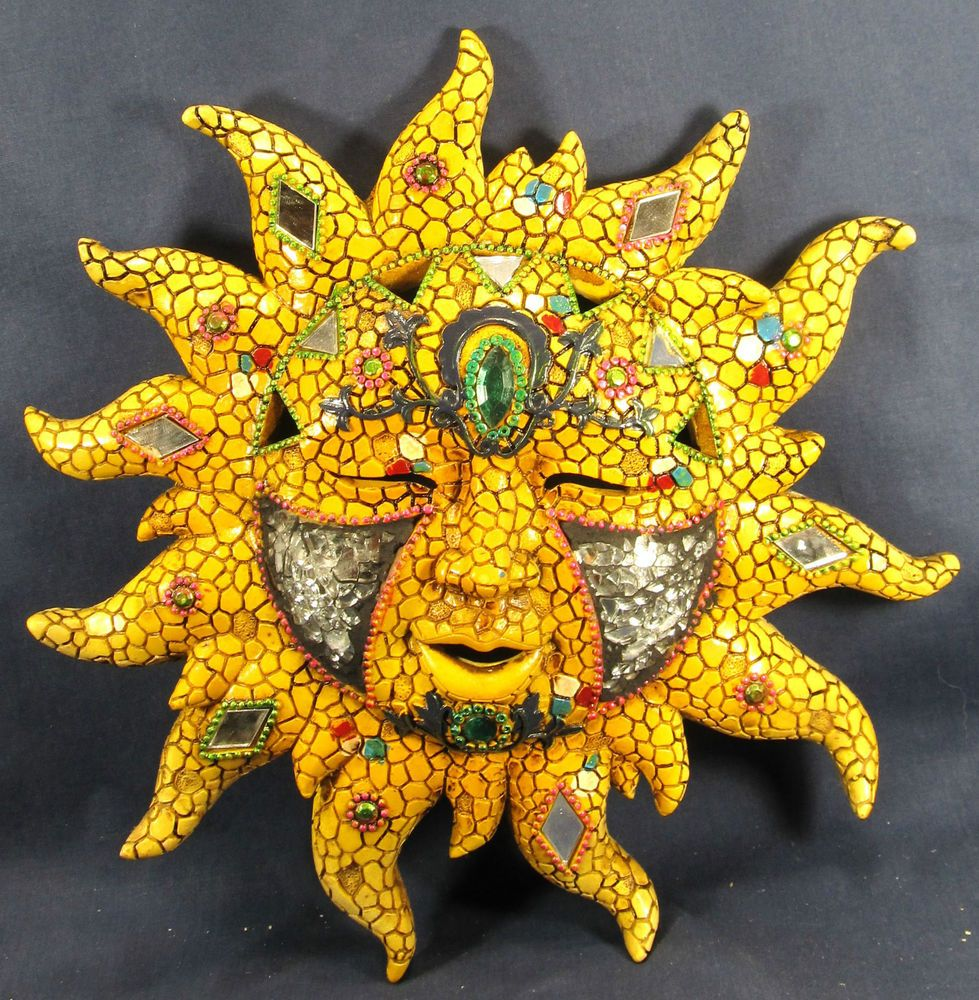 Sun God Face Mosaic Glass w/mirrors & jewels wall art home decor ...