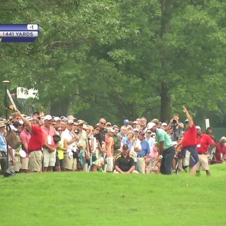 Tiger Woods Sticks His Approach 2 Feet From The Hole At The