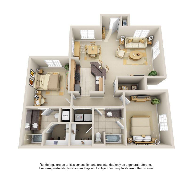 3d floor plan apartment Google Search modern in 2019