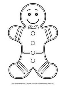 Gingerbread Man Template Clipart Coloring Page For Kids