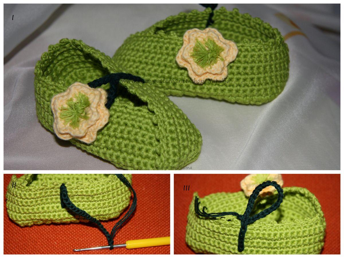 Kostenlose Häkelanleitung für Anfänger - Babyschuhe mit Blume ...