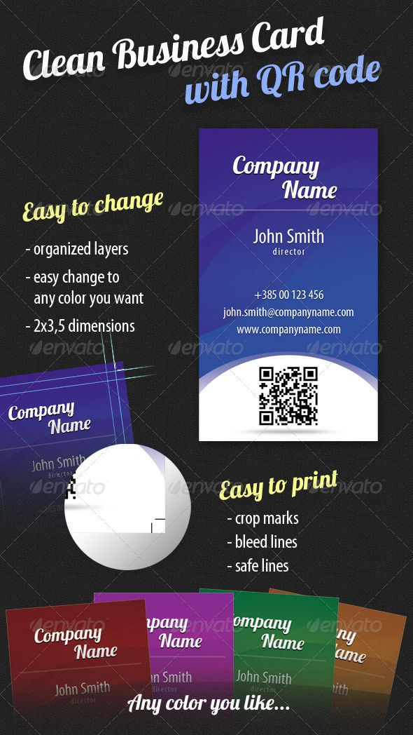 Clean Business Card with QR Code | Qr codes, Business cards and ...