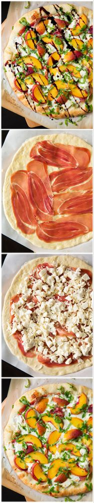 ThisPeach and Prosciutto Pizzais topped with three types of cheese and a homemade balsamic reduction. This is the perfect summer pizza recipe!#pizza