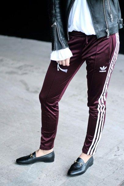 3247f49f6 Pants: tumblr burgundy burgundy side stripe adidas adidas shorts black  shoes loafers black loafers