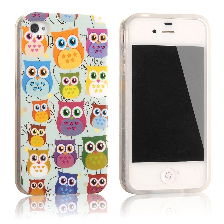 tinxi® Coque de protection en silicone pour Apple iPhone 4 4s étui Housse Case cover Motif hiboux colorés: Amazon.fr: High-tech