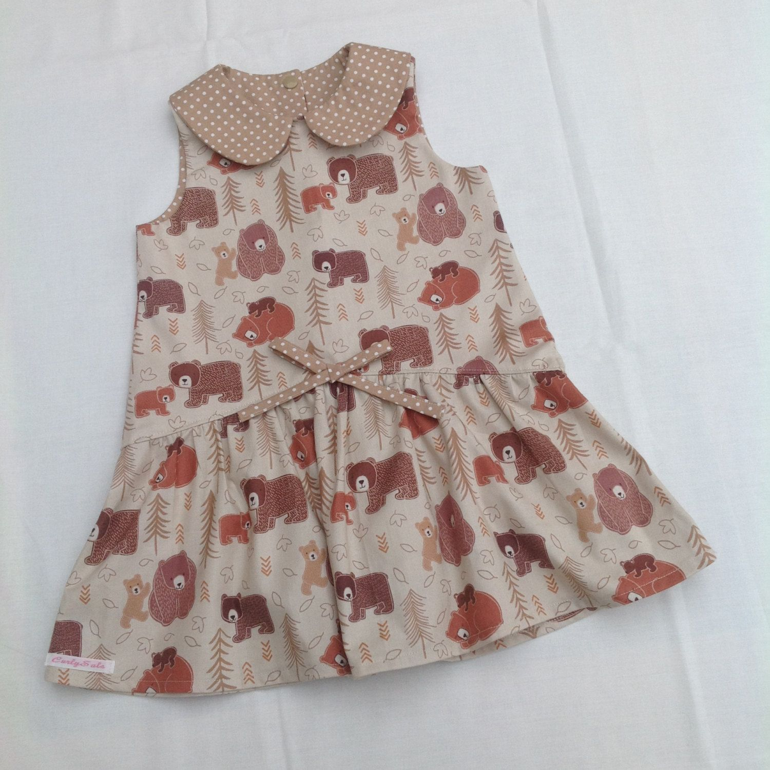 Baby girls toddlers dropped waist dress with Peter Pan collar age