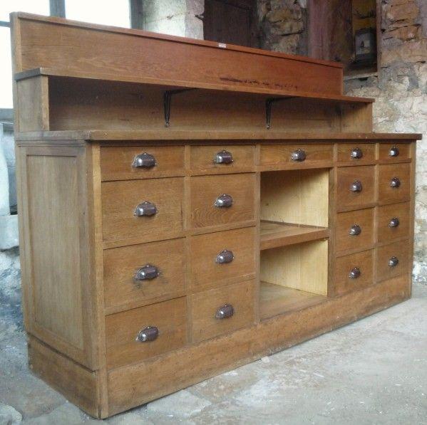 Ancien et superbe meuble de pharmacien 17 tiroirs toutes for Meuble cuisine ancien