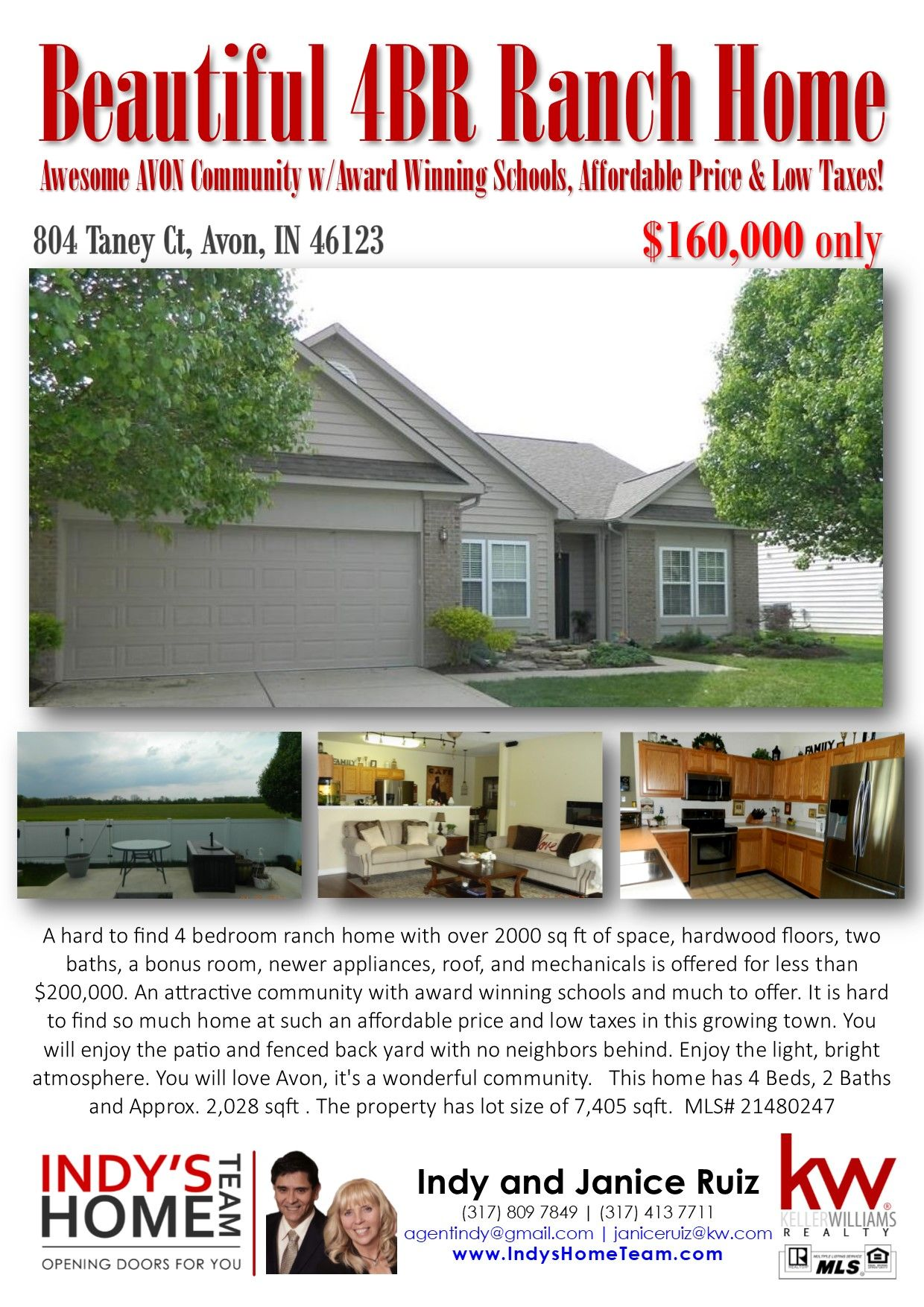 Hard To Find Ranch Home With OVER 2000 Sq Ft Living Space! Awesome AVON  Community W/Award Winning Schools! Hard To Find A Home At Such An  AFFORDABLE PRICE ...
