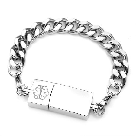 Custom Engraved Medical Id Bracelet With Usb Flash Drive