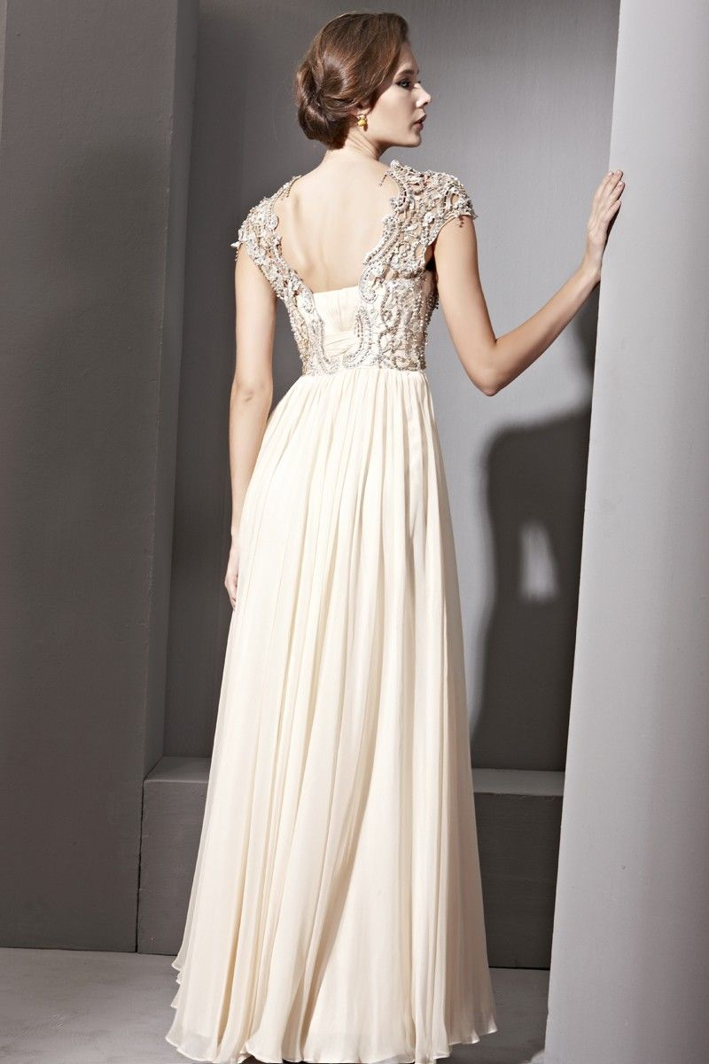 Hand Embroidered Cream Chiffon Wedding Dress - Bridal & Bridesmaid