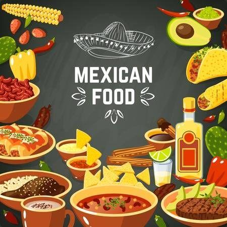 Fondo de la comida mexicana con comida picante tradicional y pizarra ilustracin vectorial sombrero en 2019  Vinilo  Pinterest