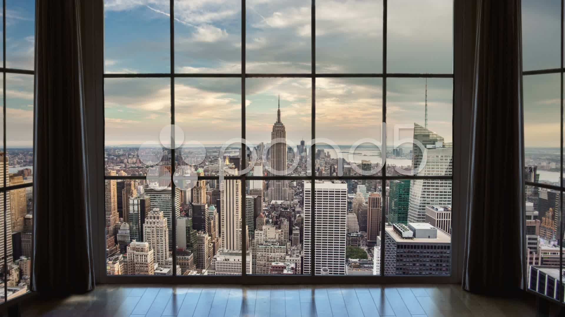 New York City View From Window Stock Footage View City York