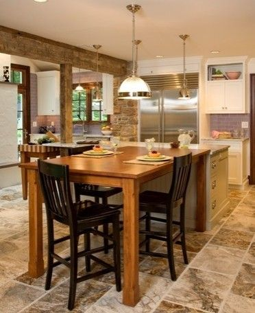 Lotsa Texture Kitchen Island And Table Combo Wooden Kitchen Table Kitchen Island With Seating