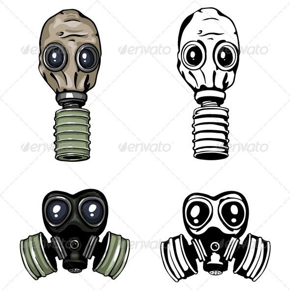 Gas Mask By Nikiteev Vector Gas Mask And Respirator Color And Lineart Variations Gas Mask Tattoo Gas Mask Gas Mask Art